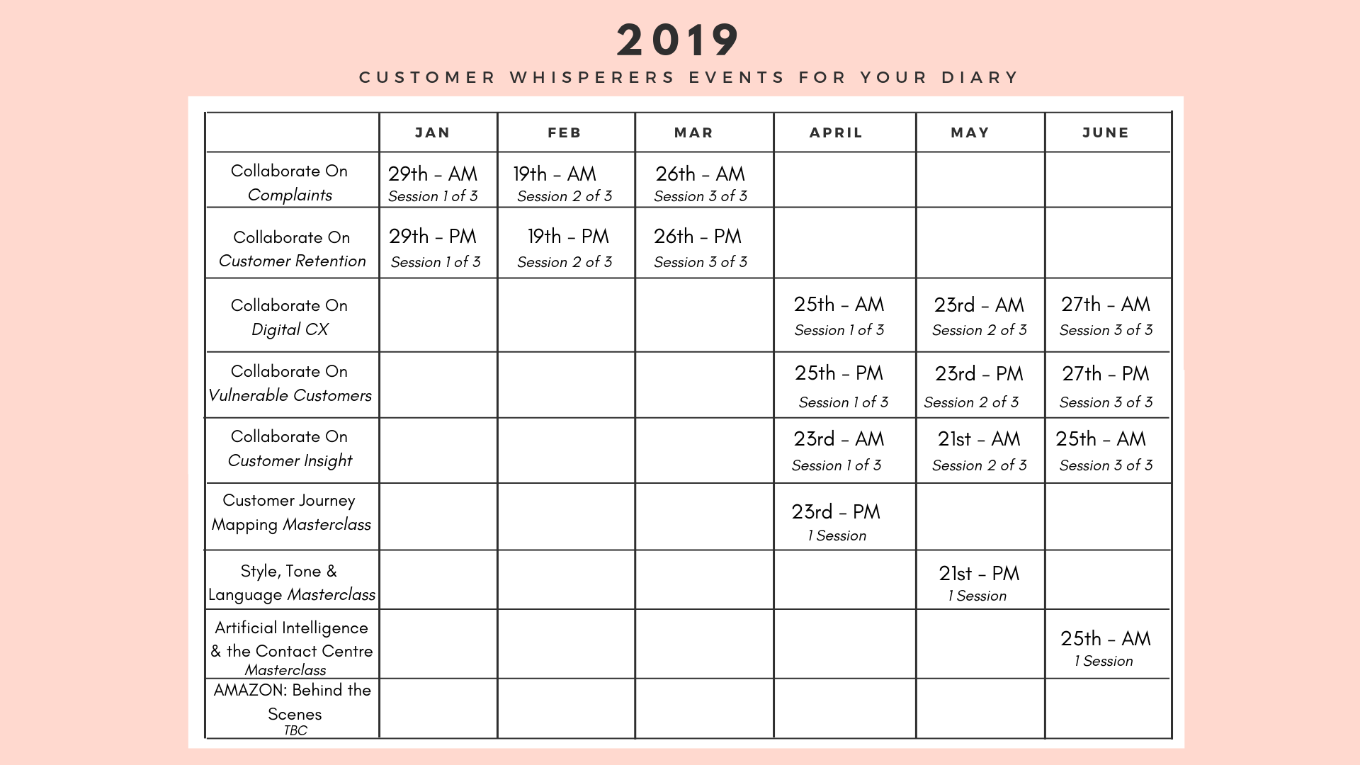 Customer Whisperers Events Calendar